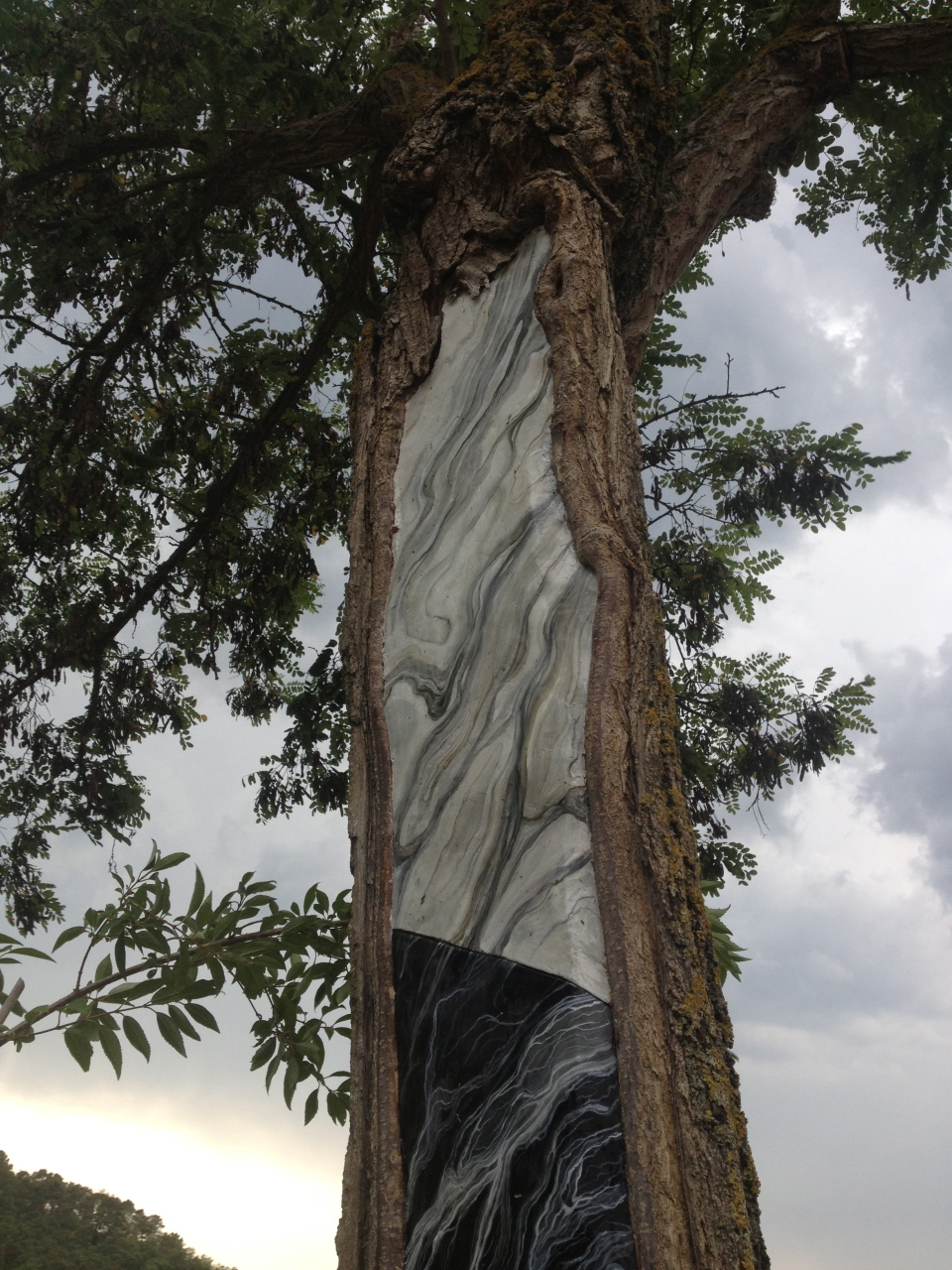 _Fall and Rising, Fall and Rising, Fall and Rising..._ wall into the cavity of a tree hitten by a lightening_ trompe l'oéil marble effect on stuck_ Tuscany_ 2014 (detail 1)